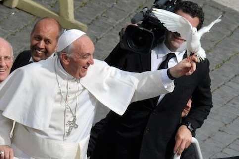 Pope Francis with White Dove